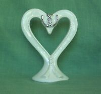Western-Cowboy White Porcelain Heart Wedding Cake Top with Horseshoes and Rope