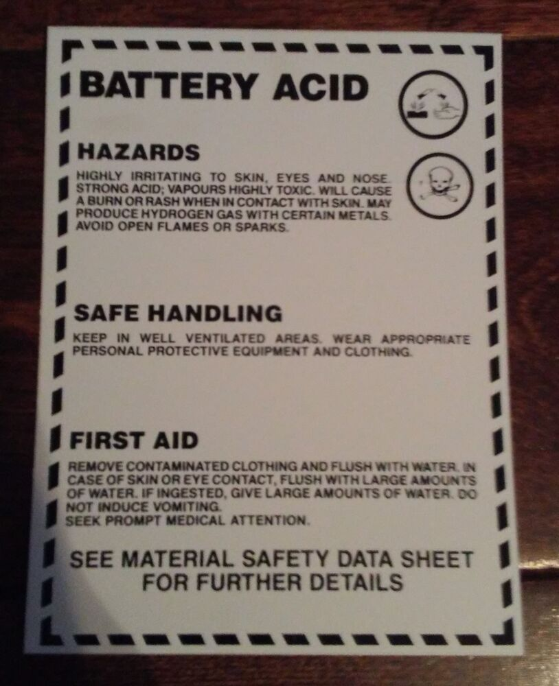 Safety sign battery acid whmis label 3 x 4 25pack ebay biocorpaavc Choice Image
