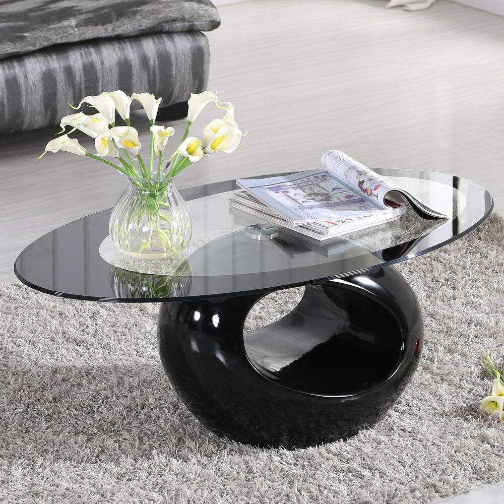 Glass oval coffee table contemporary modern design living room furniture black ebay - Lovely contemporary coffee tables decorating inspirations ...