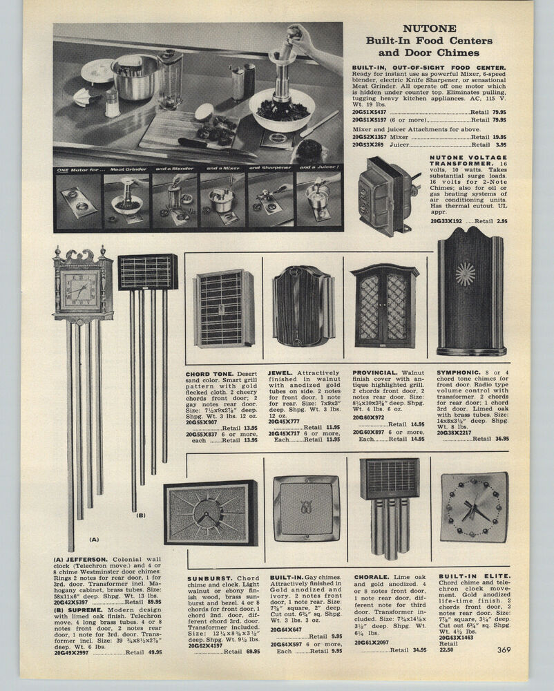 Nutone Jefferson Wiring Diagram Diagrams Schematics Musical Chime Move Doorbell How To Wire A Double And Single 1959 Paper Ad Door Chimes Bells Food Center Mixer Grinder Ebay Sc 1 St