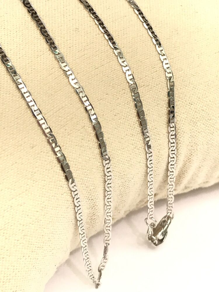 18k Solid White Gold Italian Small Flat Link Chain ...