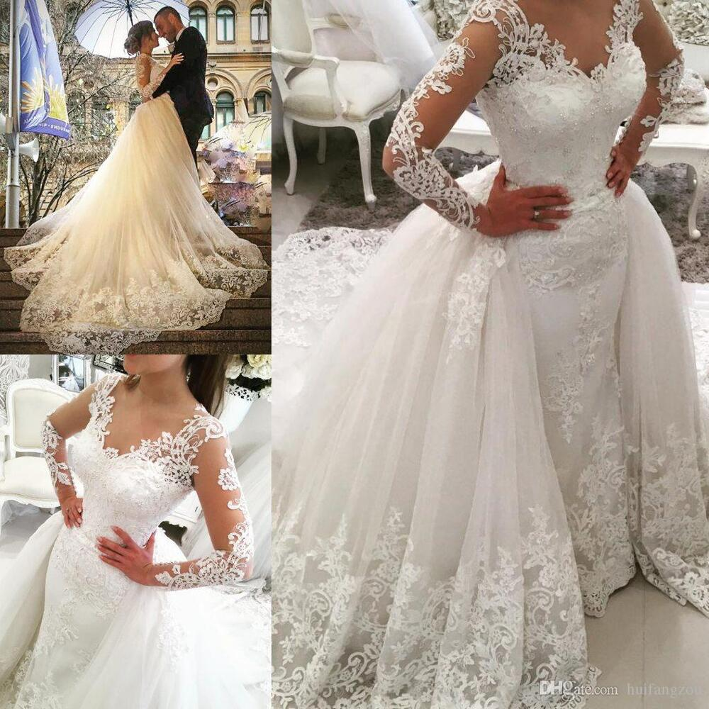 White ivory train lace wedding dress bridal gown custom for Detachable train wedding dress