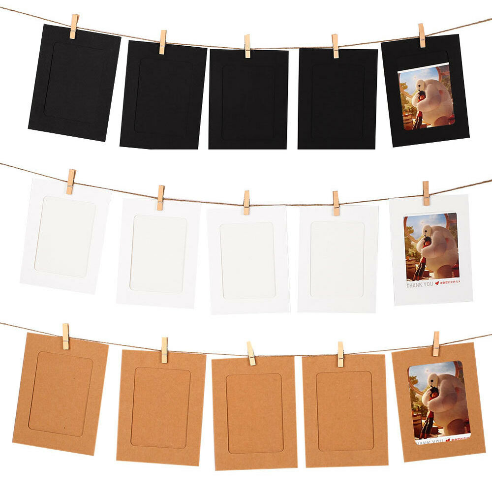 10pc diy paper photo wall art picture polaroid hanging album frame rope clips ebay. Black Bedroom Furniture Sets. Home Design Ideas