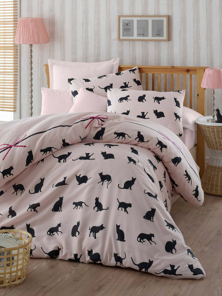 Bedding set single duvet quilt cover cat animal pink kitty for Housse causeuse linen chest