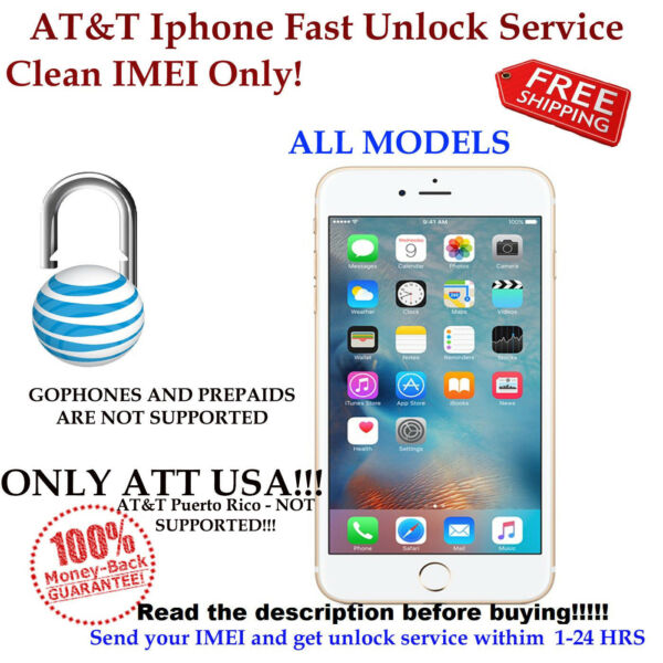 FAST FACTORY UNLOCK CODE FOR AT&T USA IPHONE 3 4S 5 5S 6 6s+ 7 CLEAN IMEI ONLY