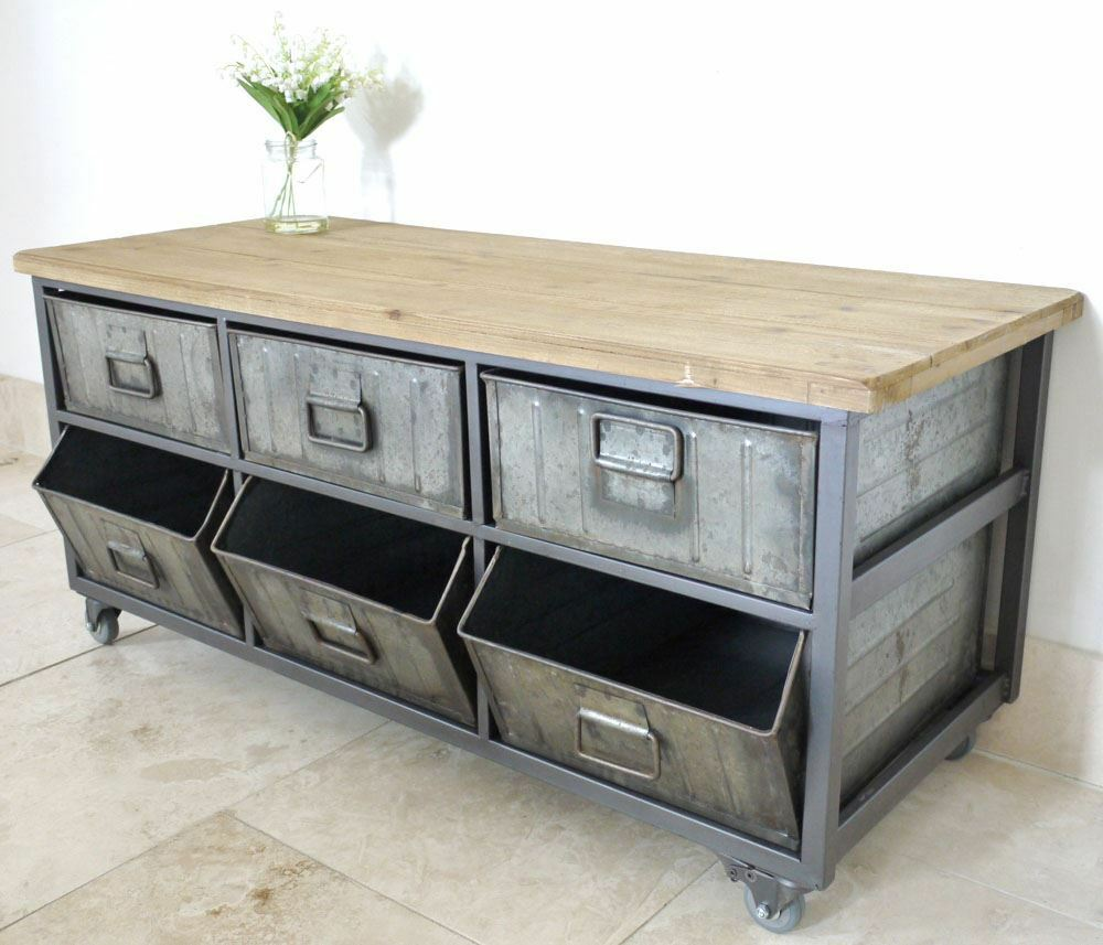 retro industrial style vintage coffee table side drawer unit ebay. Black Bedroom Furniture Sets. Home Design Ideas