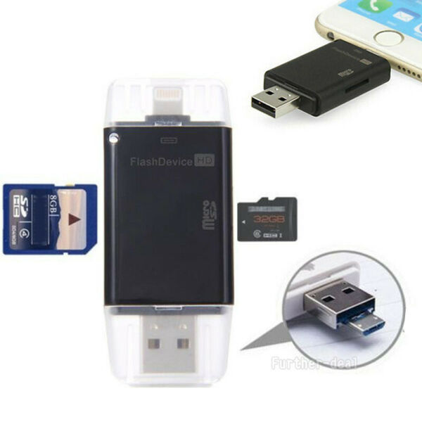 USB Flash Drive TF SD Memory Card Reader for iPhone XS Xr X 8 7 6 5 s Plus iPad
