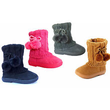 New Kids Boots Toddler Girls Pom Pom Faux Fur Suede Knitting Shoes-268