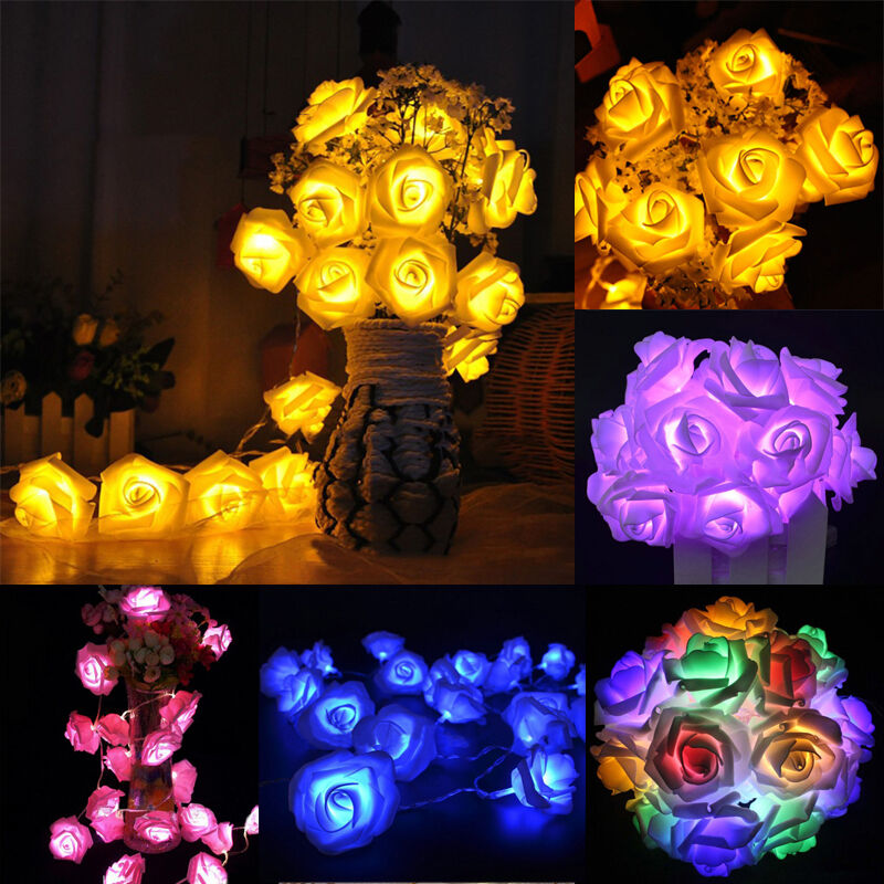 7 farben 20 led lichterkette rosen lichtgirlande hochzeit tischdeko batterie neu ebay. Black Bedroom Furniture Sets. Home Design Ideas