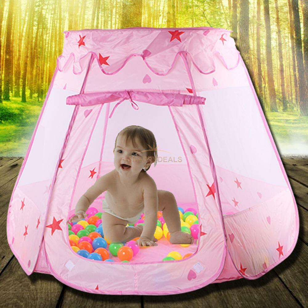 portable play tent kids girl princess castle outdoor ocean ball play house funny ebay. Black Bedroom Furniture Sets. Home Design Ideas