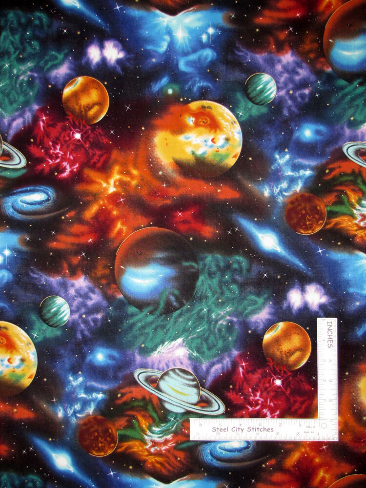 Space planet solar system star galaxy cotton fabric 6075 for Fabric planets solar system