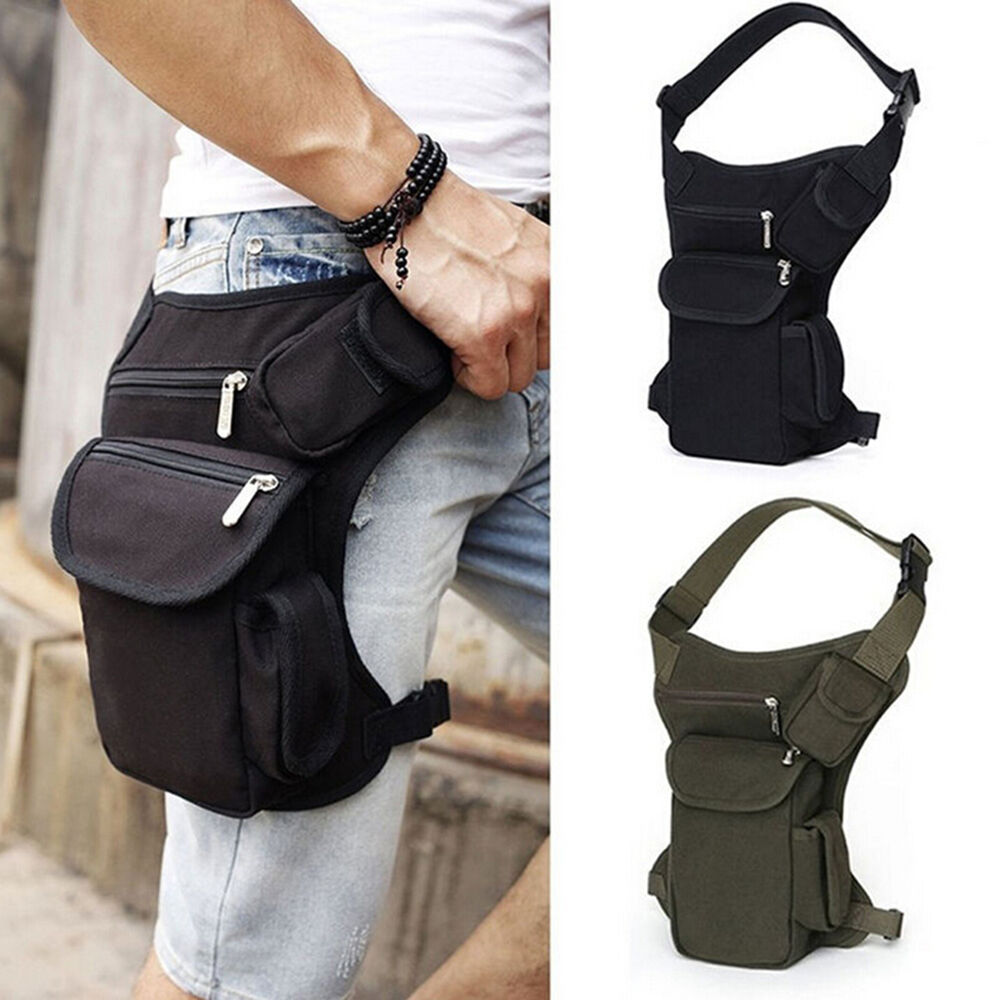 Men Canvas Tactical Motorcycle Riding Hip Fanny Pack Waist