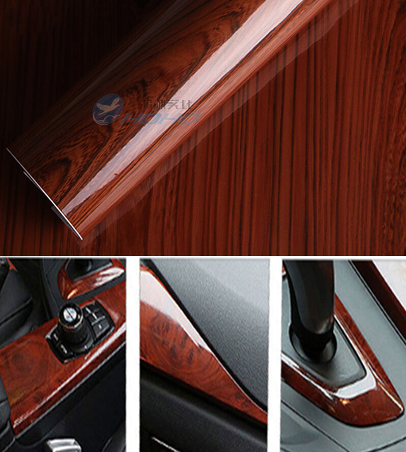Glossy Wood Grain Textured Vinyl Self Adhesive Car Wrap