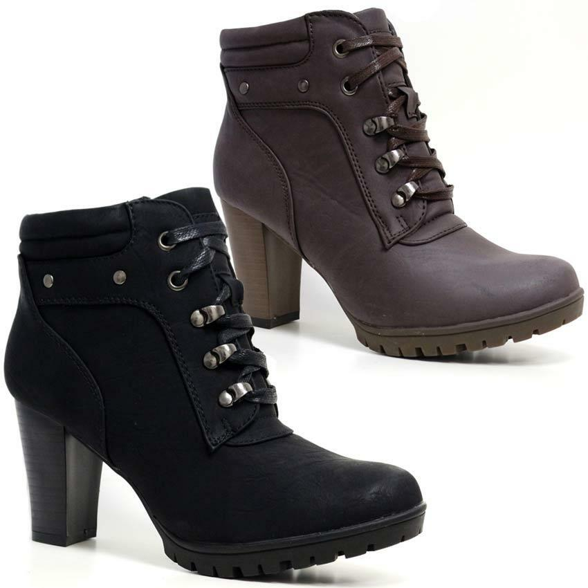 womens mid block heel zip up combat ankle