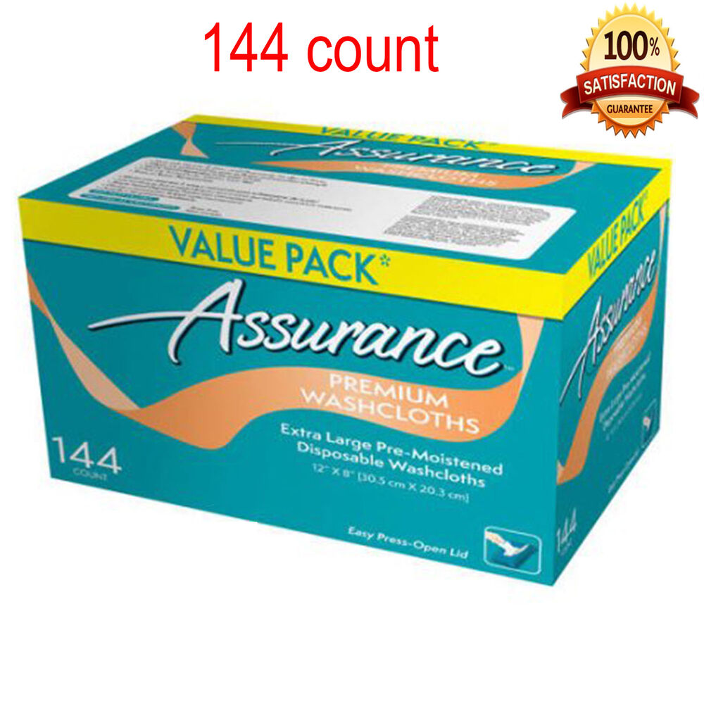 assurance premium pre moistened disposable washcloths extra large 144 count ebay. Black Bedroom Furniture Sets. Home Design Ideas
