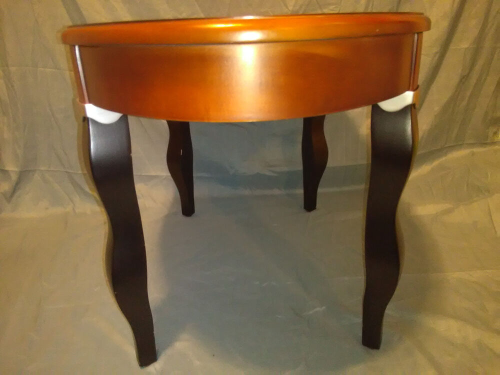 Walnut stained designer oval wooden coffee accent table for Black wood coffee table and end tables