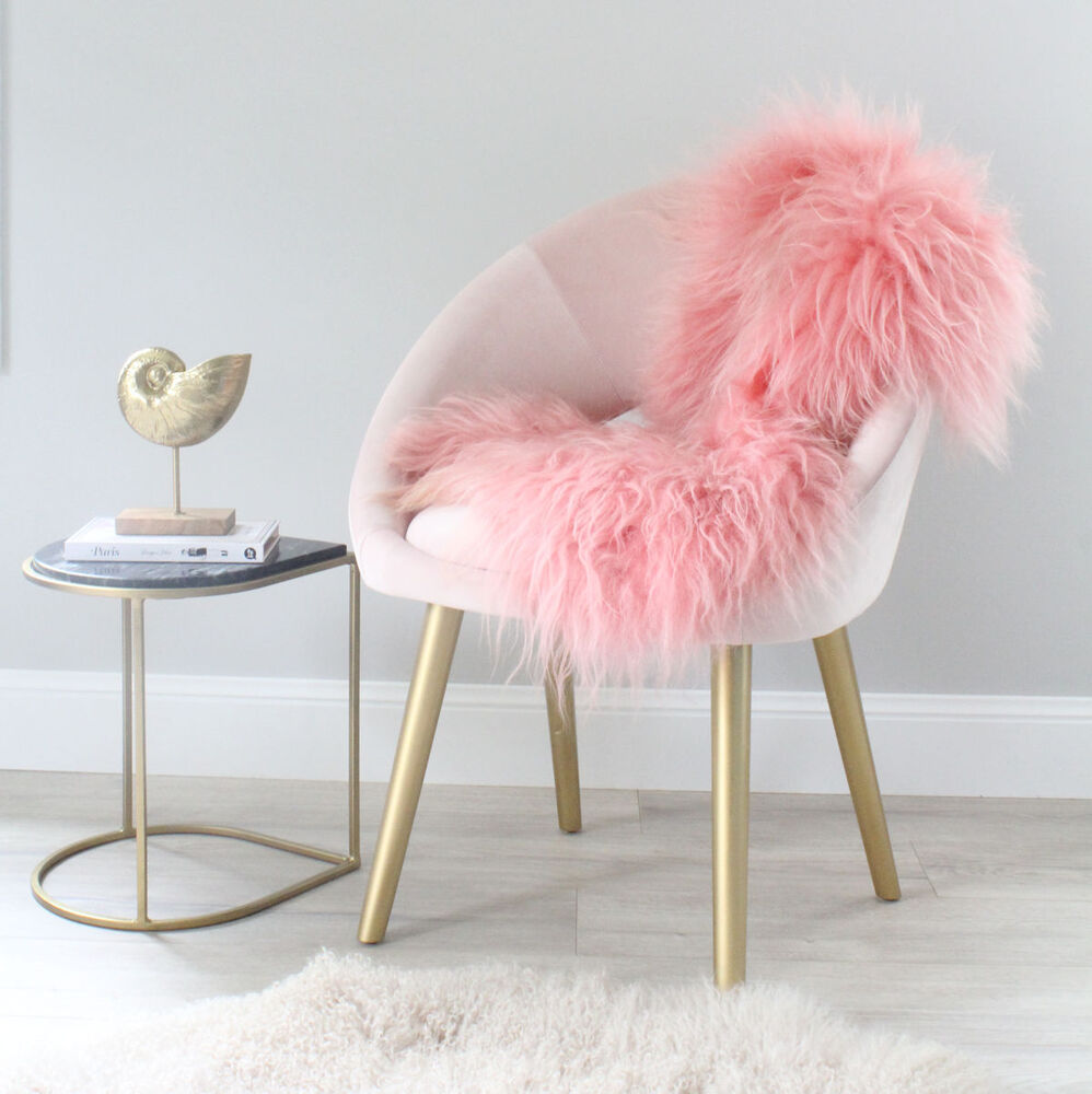 CORAL PINK ICELANDIC SHEEPSKIN LAMBSKIN SHAGGY LONG HAIR