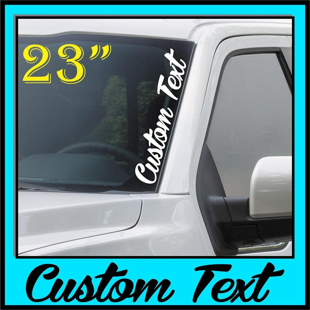 Custom Text Windshield Decal Sticker Vertical Script