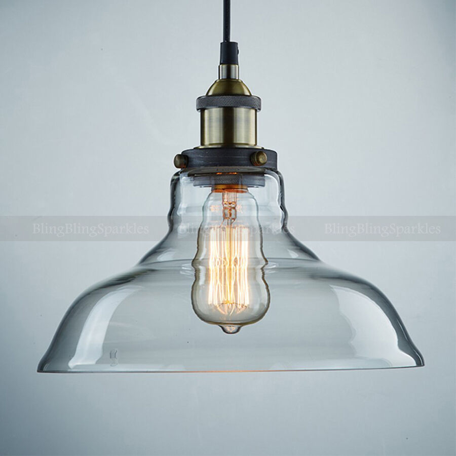 Vintage Industrial Glass Pendant Light: Industrial Pendant Ceiling Light Vintage Glass Shade