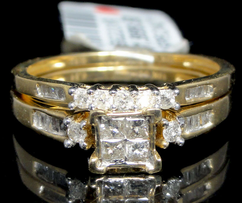 Ladies 10k Yellow Gold Diamond Engagement Ring Princess