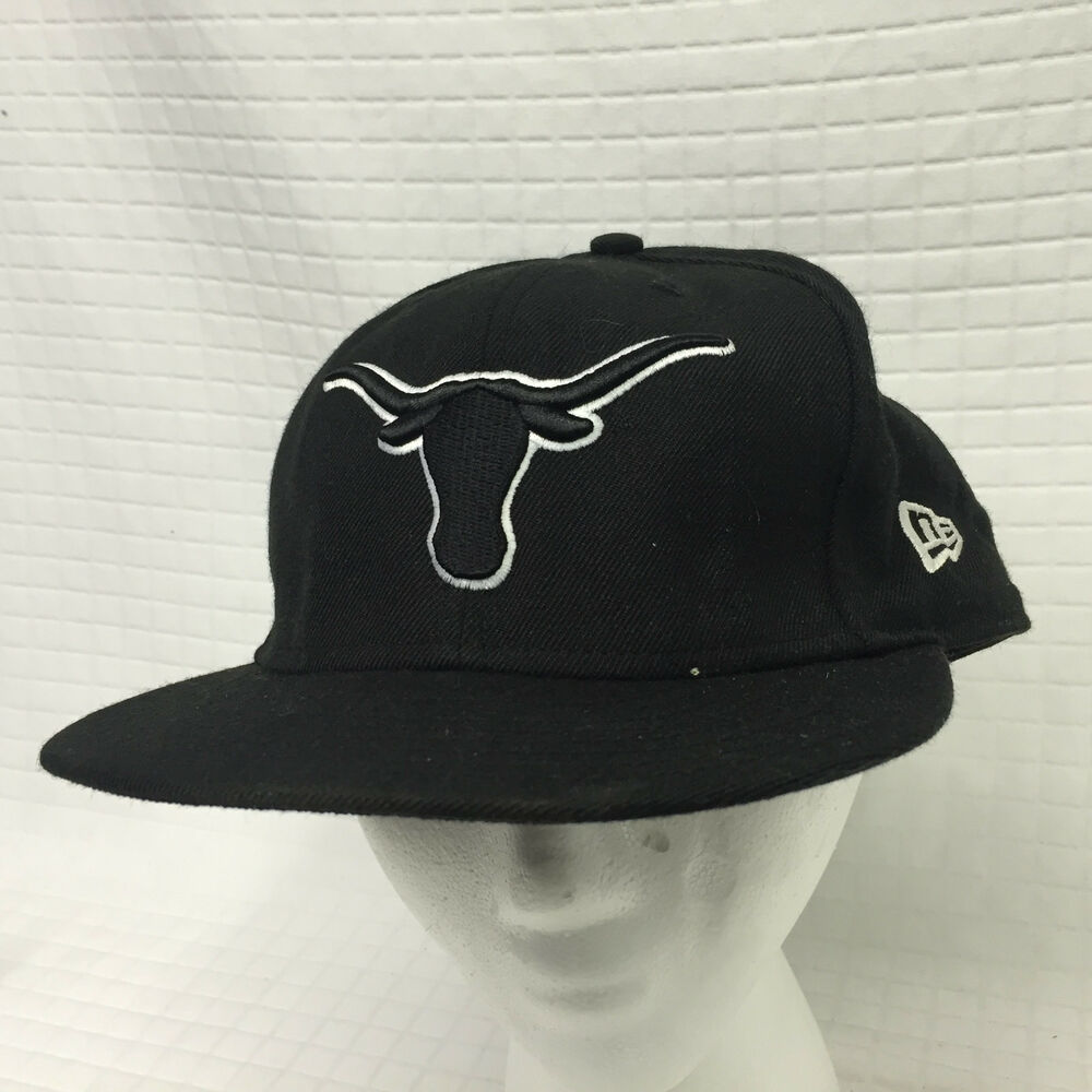 Details about Black TEXAS LONGHORNS Flat bill Fitted New Era hat 7 3 4 100%  wool 59Fifty USED 19bd39f7035