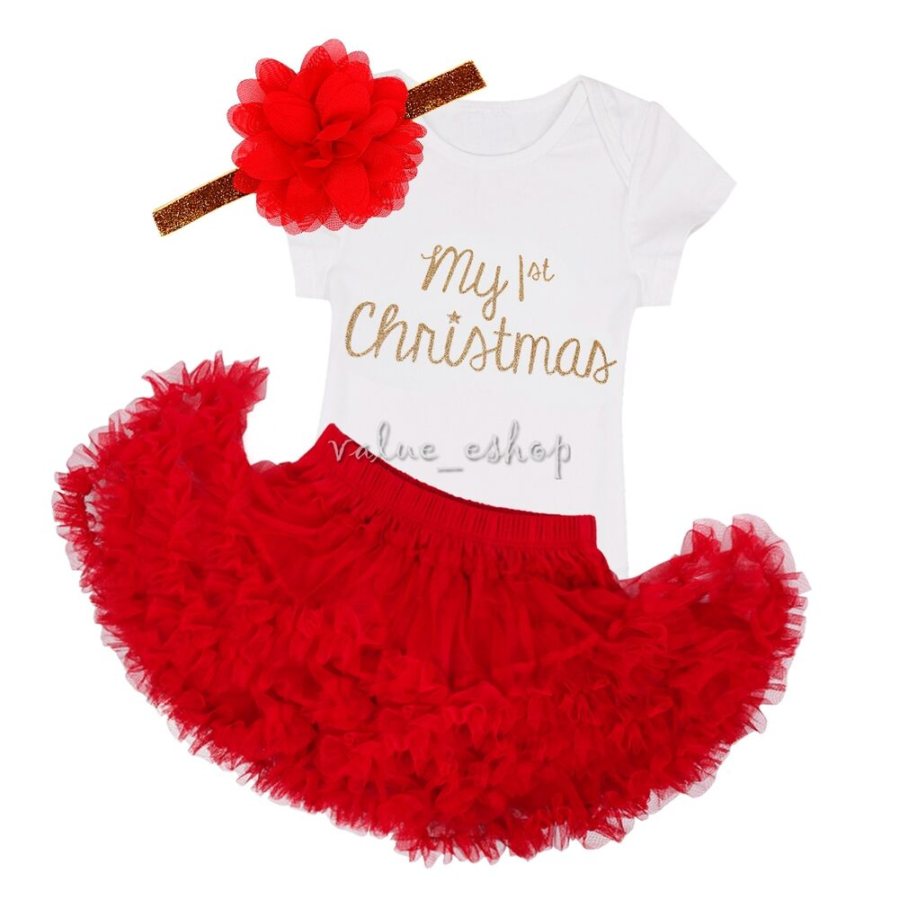 63ecbc370 Details about Infant Girls Baby My First Xmas Romper Tutu Dress Outfit  Photo Costume+Headband