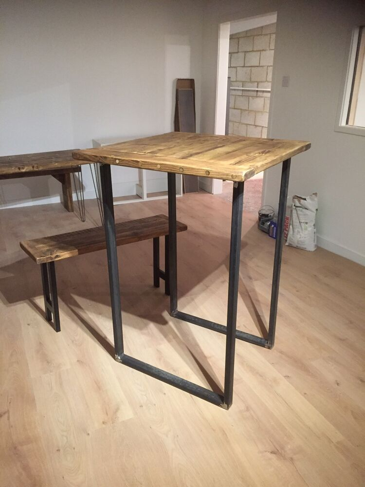 breakfast bar legs industrial chic rustic bar table legs metal legs ebay. Black Bedroom Furniture Sets. Home Design Ideas