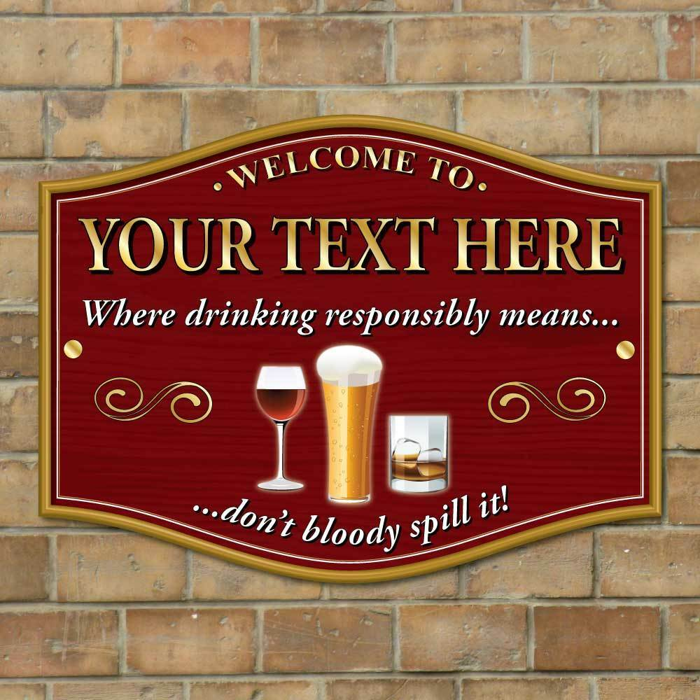 Home Bar Signs: Personalised Home Pub Sign, Custom Bar Plaque, Outdoor Bar