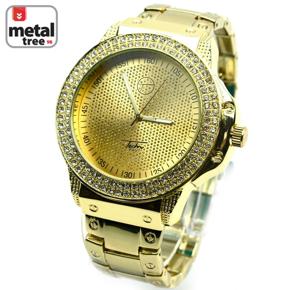 mens watches hip hop iced out 14k gold plated metal band