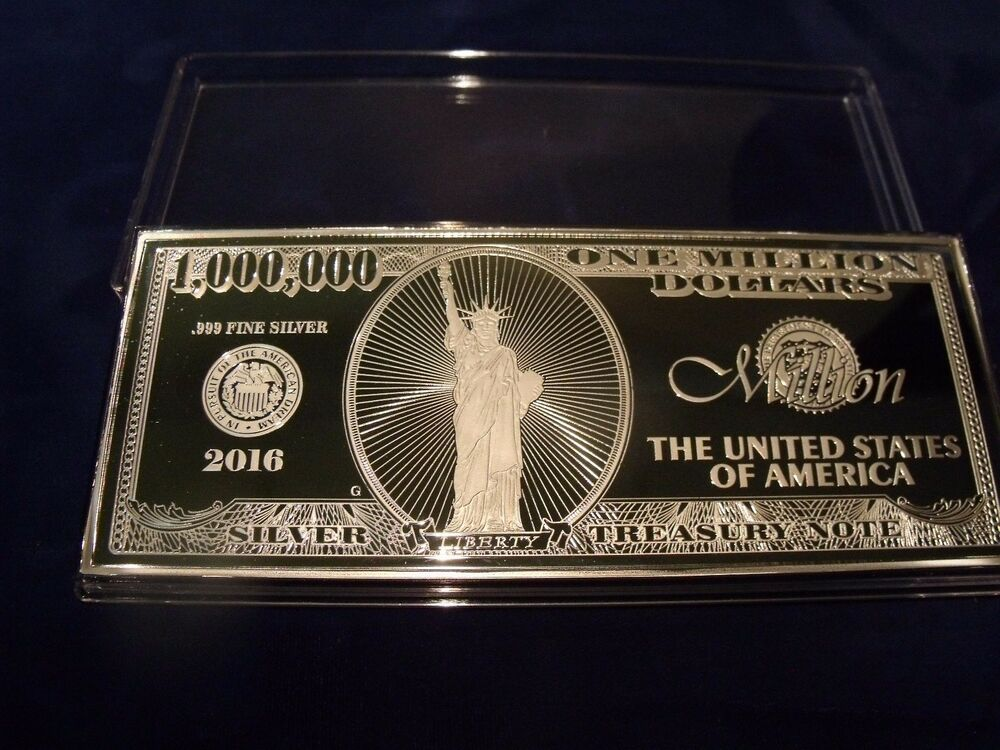 4 Troy Ounce 999 Fine Silver One Million Dollar Note
