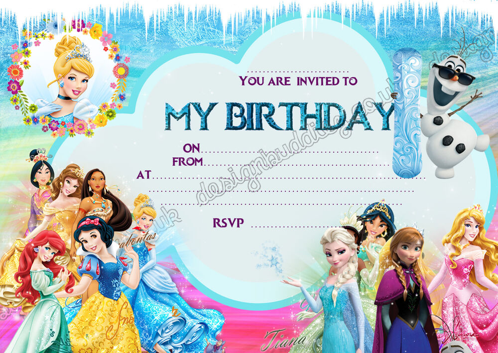 Disney Princess Frozen birthday party invitations pack 8 thick cards eBay