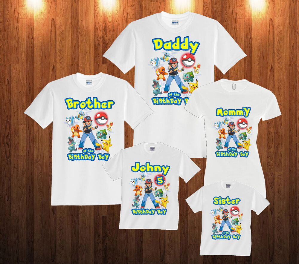 Details About Personalized Custom Pokemon Birthday T Shirt Family Shirts