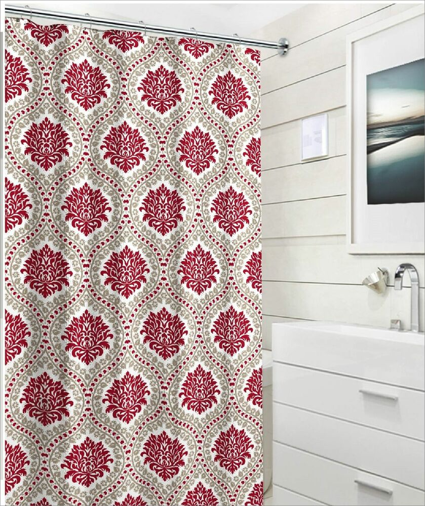 Elegant Damask Embossed Fabric Shower Curtain Red Taupe