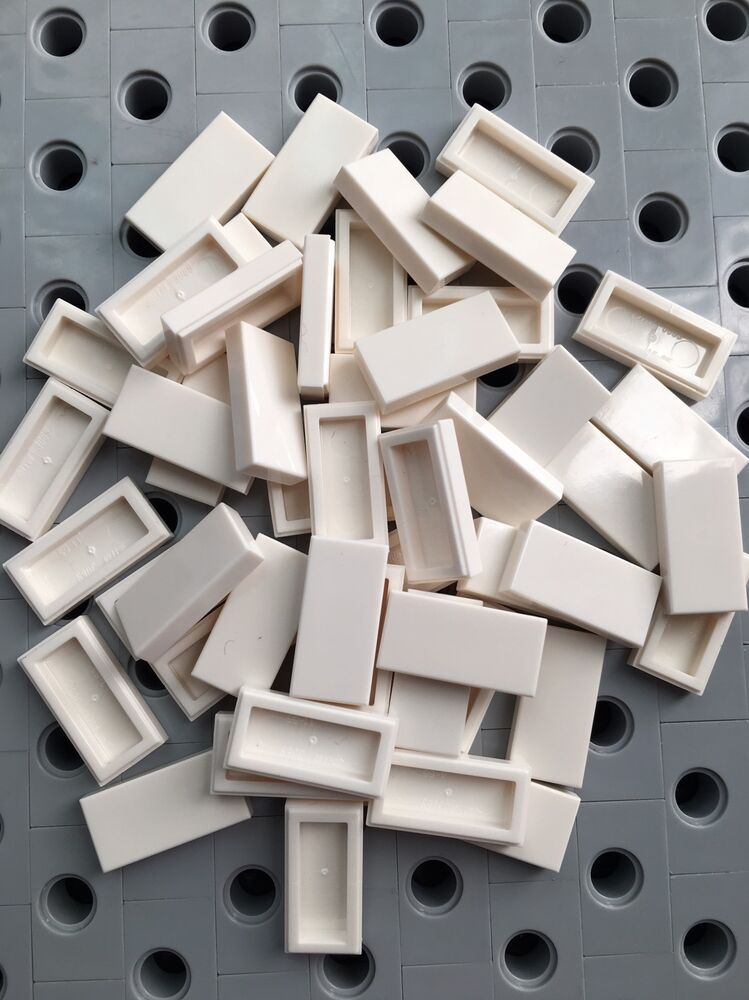 X50 Lego New Lot 1x2 Flat Tiles White Smooth Finishing