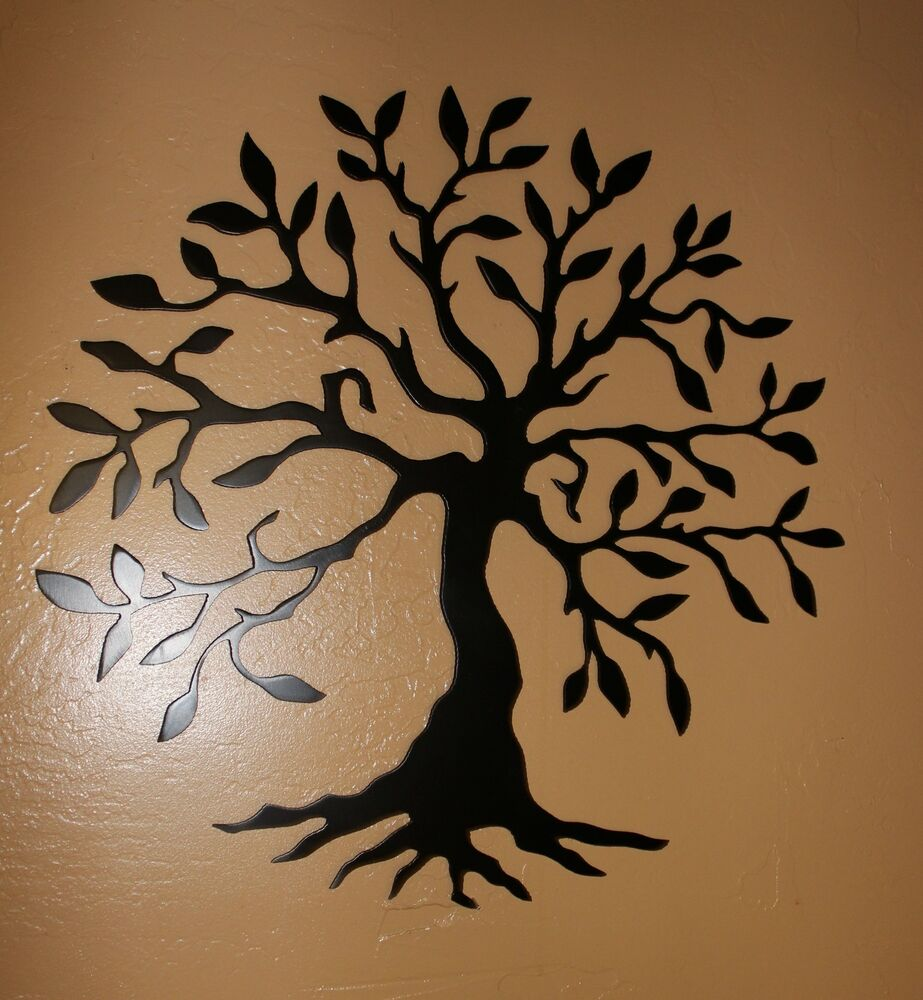 "Large Metal Tree Wall Art olive tree --tree of life black 14"" metal wall art decor 