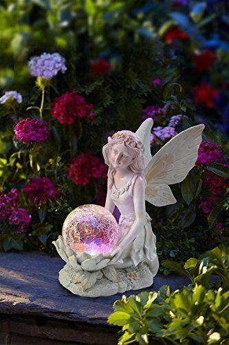 angel fairy figurine statue garden decor outdoor solar