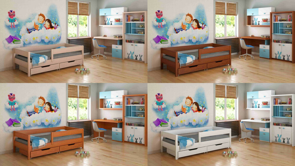 kinderbett holzfarben mit matratze juniorbett jugendbett. Black Bedroom Furniture Sets. Home Design Ideas