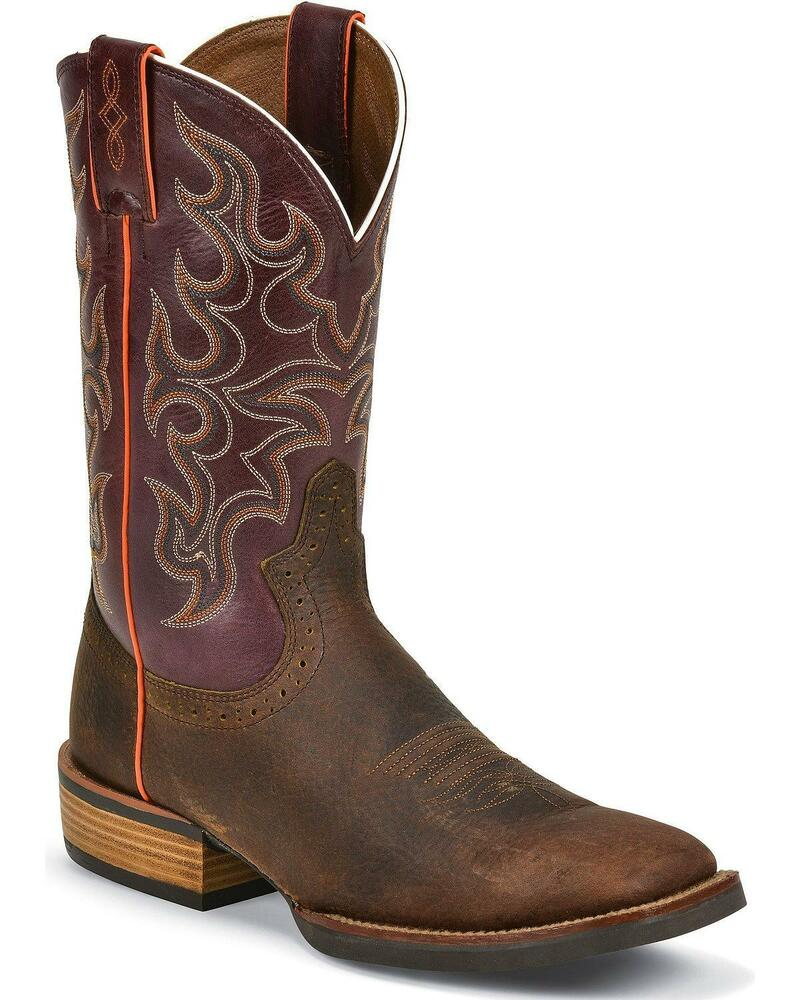 justin s silver cattleman cowboy boot square toe