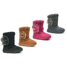 New Kids Boots Toddler Girls Cute Sequins Flower Fur Suede Knitting Shoes-2263