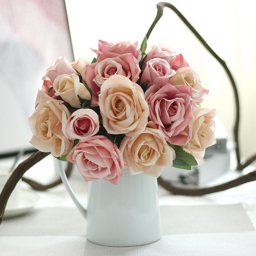 Home Decoration Flowers: Silk Rose Centerpiece Bridal Wedding Party Flowers Room