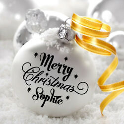 Personalised Merry Christmas (Name) Decal Sticker For Bauble/ XMAS Decoration