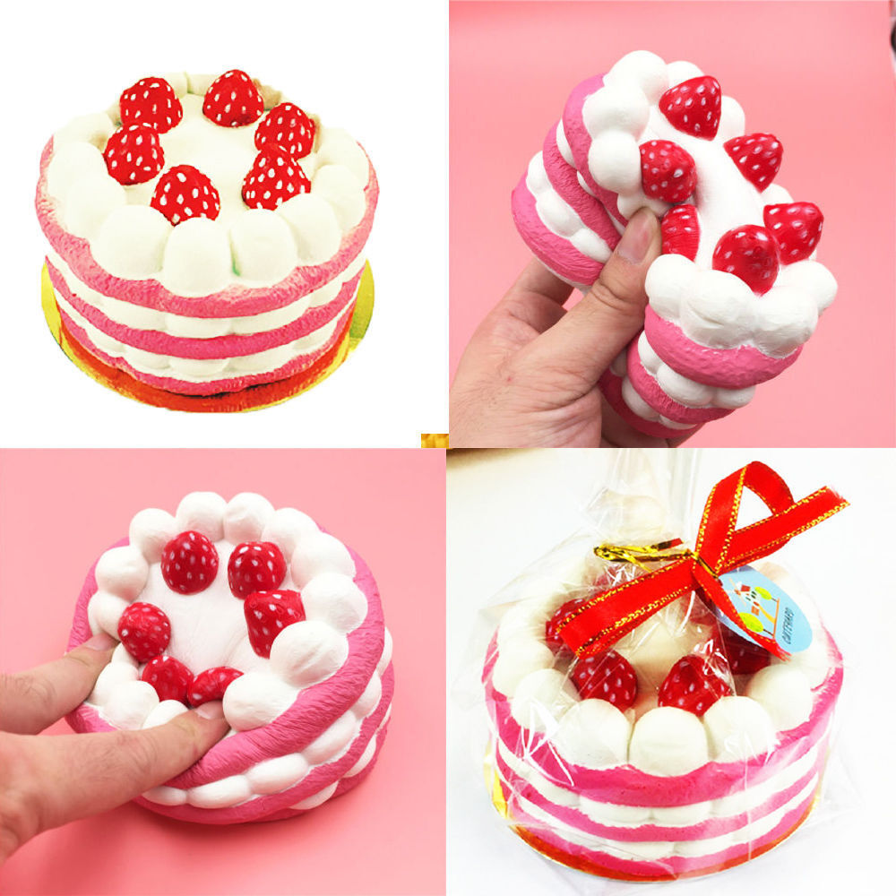 Squishy Cake Toy Target : Cute 10CM Jumbo Squishy Strawberry Cake Scented Super Slow Rising Fun Kids Toy T eBay