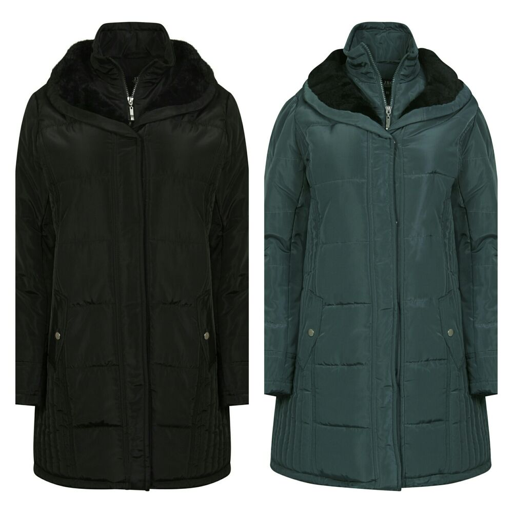 Ladies Rainproof Parka Knee Length Quilted Winter Padded