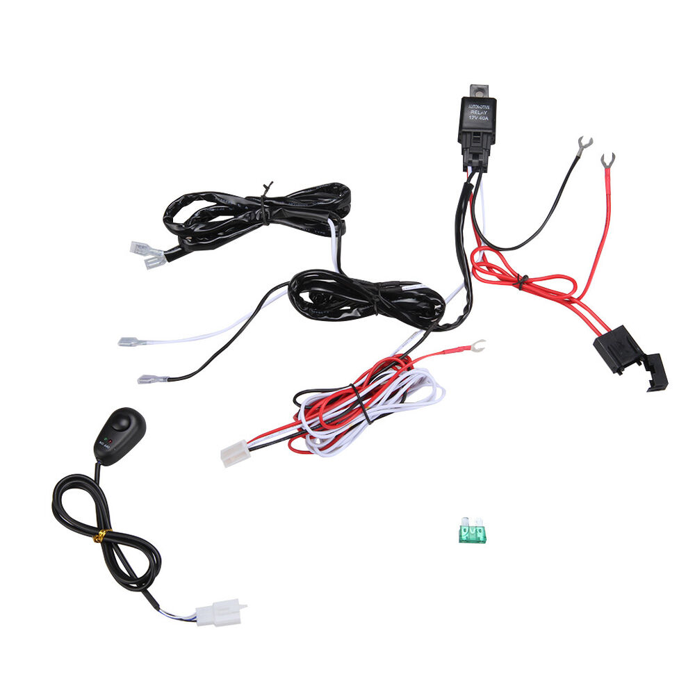 relay switch control wiring harness kit loom for led work driving light bar 12v