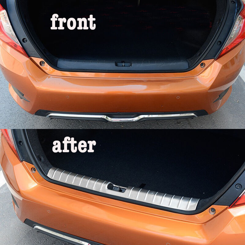 stainless steel rear cargo protector sill plate cover for honda civic 2016 2017 ebay. Black Bedroom Furniture Sets. Home Design Ideas