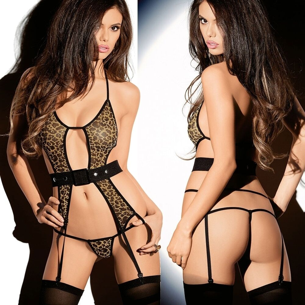eb6248fde6 Wild LEOPARD Suspender TEDDY Micro G-STRING Lingerie ANIMAL Print BLACK  Belt HOT