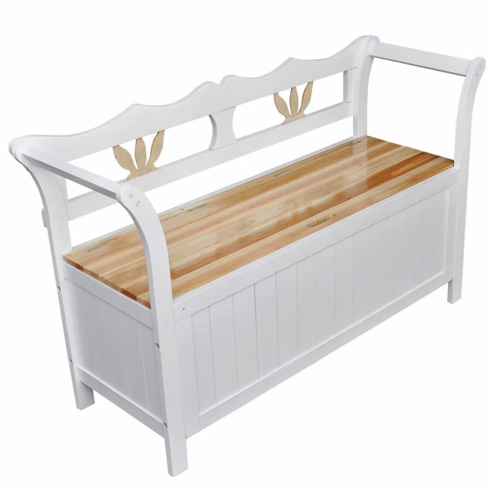 Wooden White Bench Storage Seat Wood Armrests Home Furniture Hallway Entryway Ebay