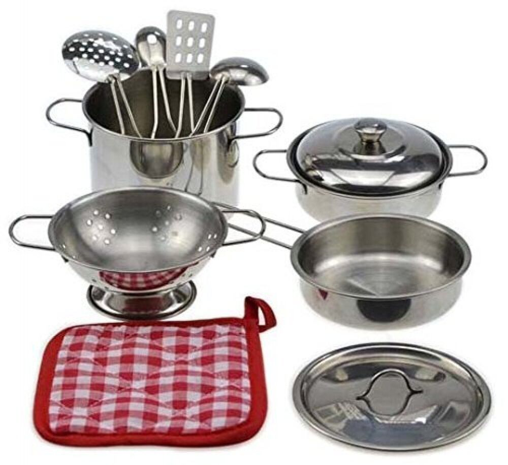 Kitchen Set Pots And Pans: Metal Pots And Pans Kitchen Cookware Playset For Kids With