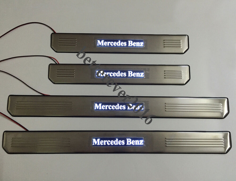 White Led Light Steel Door Sills Scuff Plate For Mercedes
