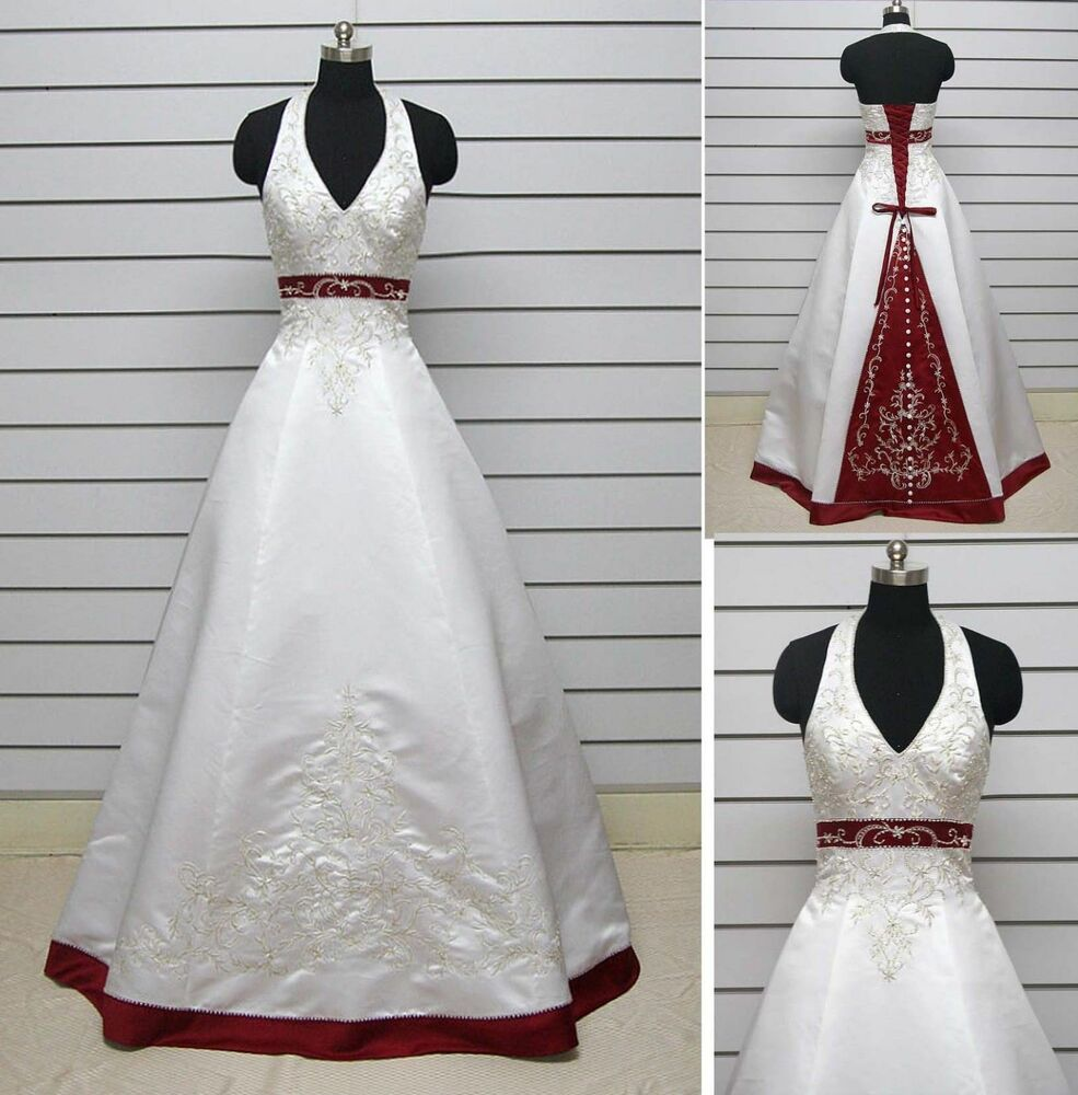 White and red embroidery satin halter ball gown wedding